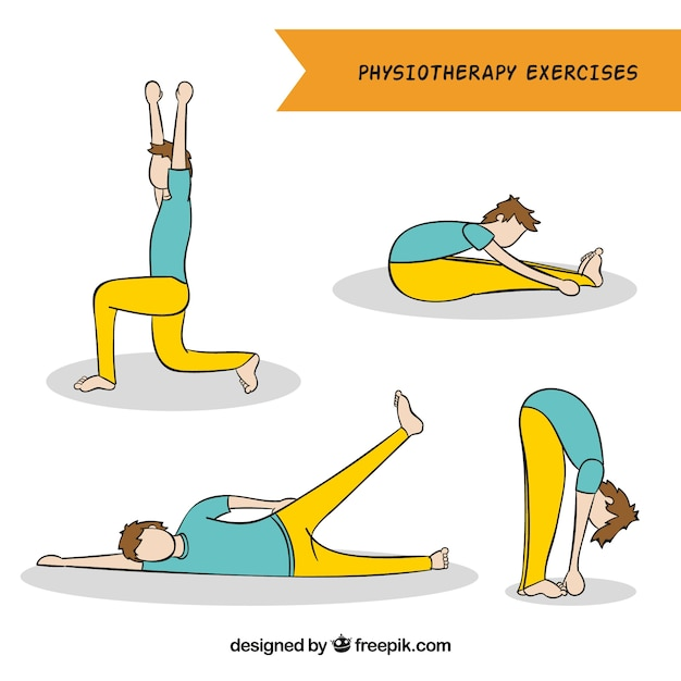 Hand-drawn collection of man doing physiotherapy exercises Free Vector