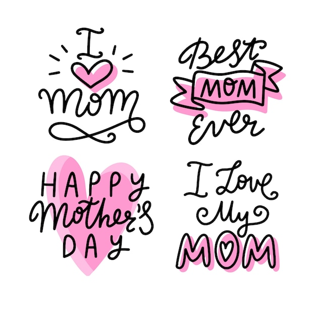 Hand drawn collection of mother's day labels Free Vector