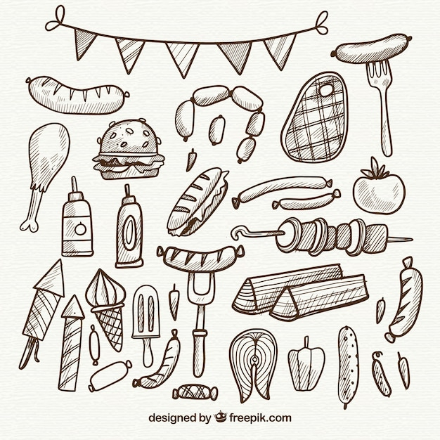 Hand drawn collection of bbq elements in simple style Free Vector