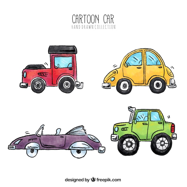 Hand-drawn collection of cartoon cars
