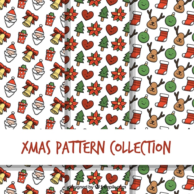 Hand drawn collection of christmas patterns