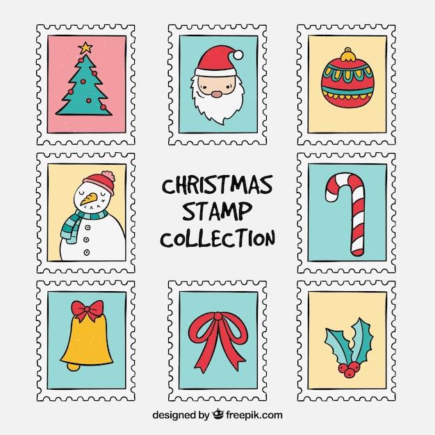 Ручная коллекция рождественских марок Бесплатные векторы