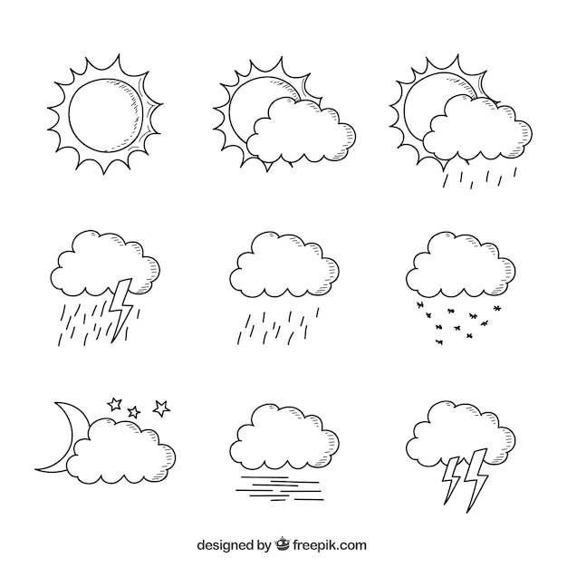 Hand-drawn collection of clouds in different\ weather conditions