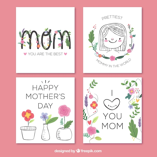 Hand drawn collection of great greeting cards for mothers day hand drawn collection of great greeting cards for mothers day free vector m4hsunfo