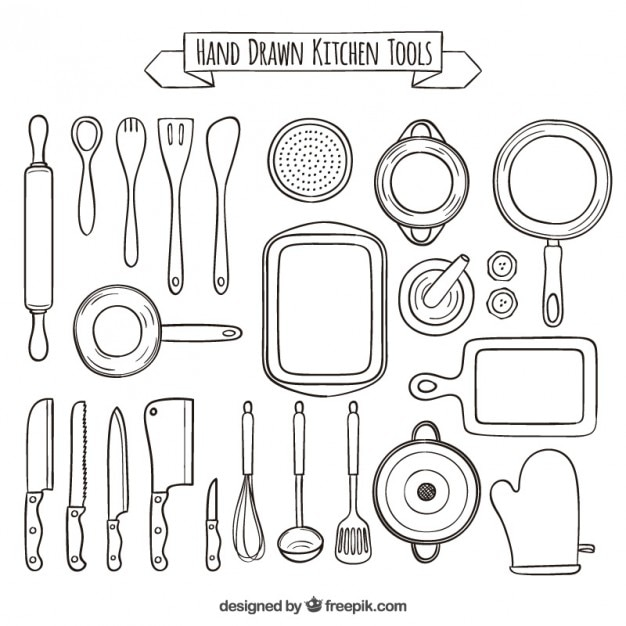 Hand Drawn Collection Of Kitchen Tools Vector