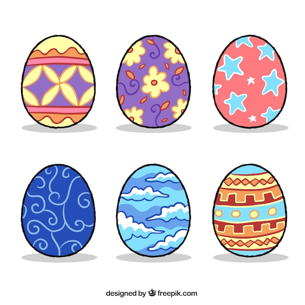 Hand Drawn Collection Of Six Colored Easter Eggs Vector Free Download - Color-easter-eggs
