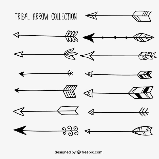 Edit A Line Or Arrow Line Arrow Wordart Picture Clip: Hand-drawn Collection Of Tribal Arrows Vector