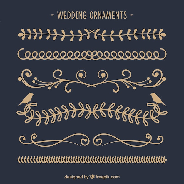 Hand drawn collection of wedding ornaments Free Vector