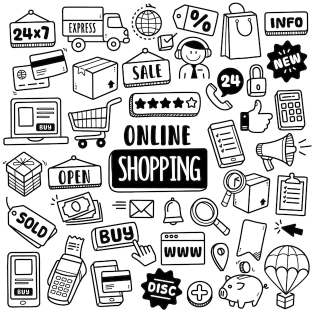 Hand-drawn collection: online shopping Premium Vector