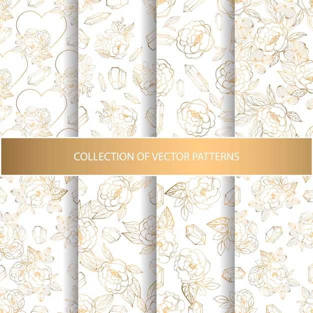 Hand drawn collection of patterns Premium Vector