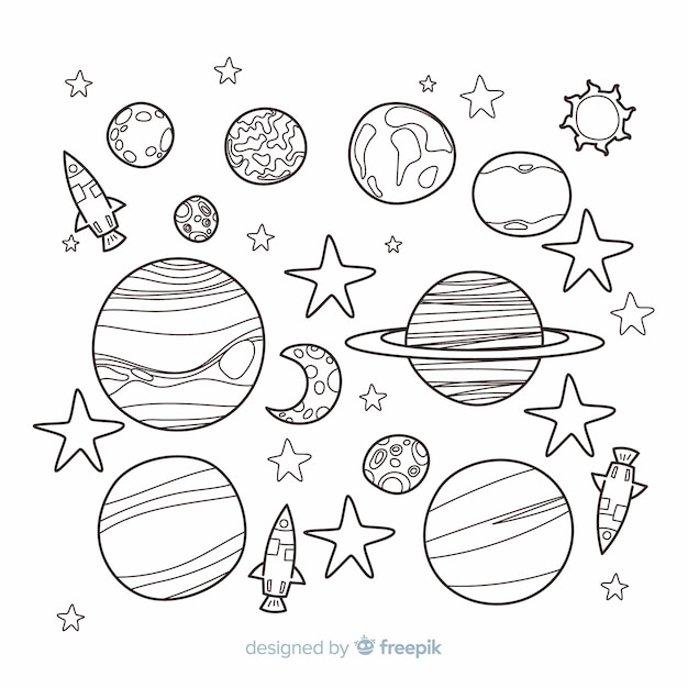 Hand drawn collection of planets in doodle style Free Vector