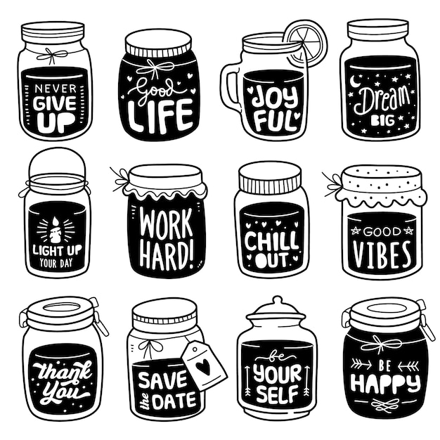 Hand-drawn collection: positive quote on doodle jar Premium Vector