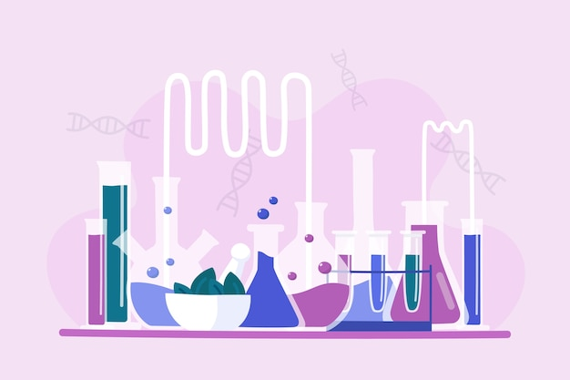 Hand drawn collection of science lab objects Free Vector