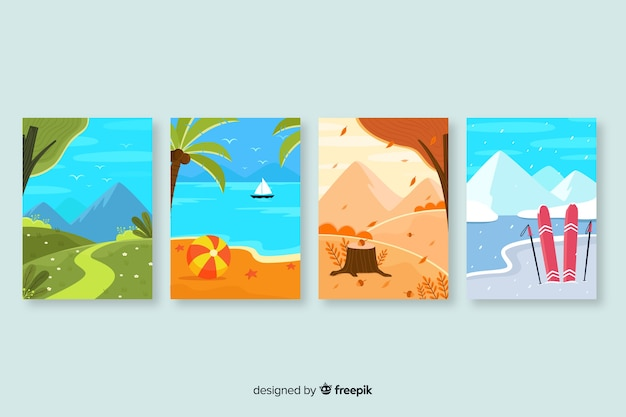Hand drawn collection of seasonal posters Free Vector