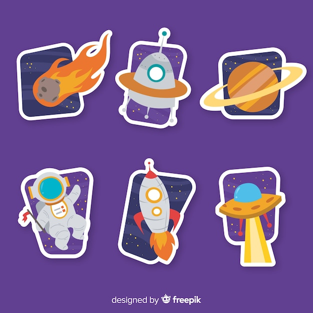Hand drawn collection of space stickers Free Vector