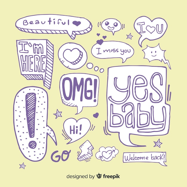 Hand drawn collection of speech bubbles Free Vector