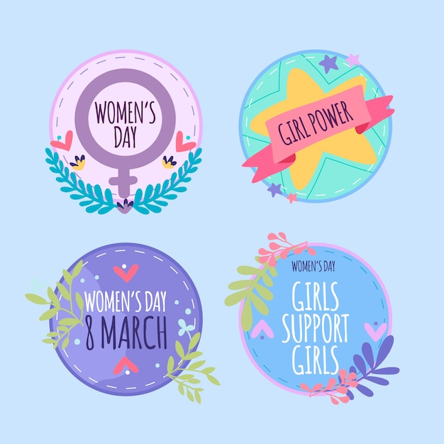 Hand drawn collection of women's day badges Free Vector
