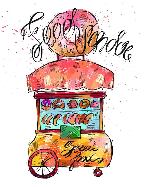 Hand drawn  color illustration of street food vendor Premium Vector