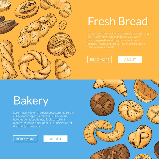 Hand drawn colored bakery elements Premium Vector