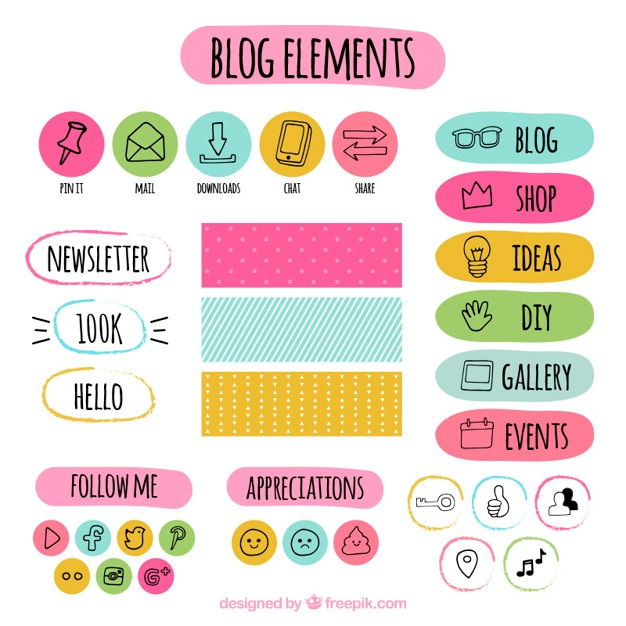 Hand drawn colored blog elements set  Free Vector