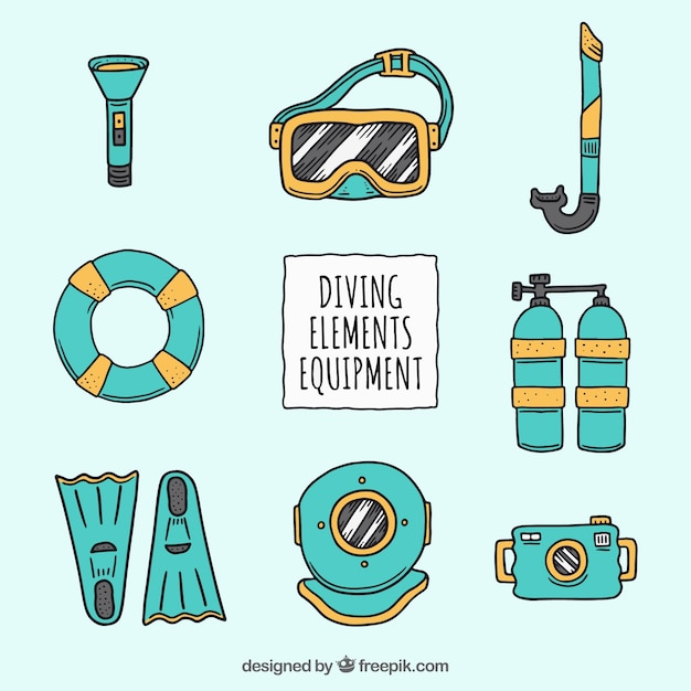 Hand drawn colored diving equipment Free Vector