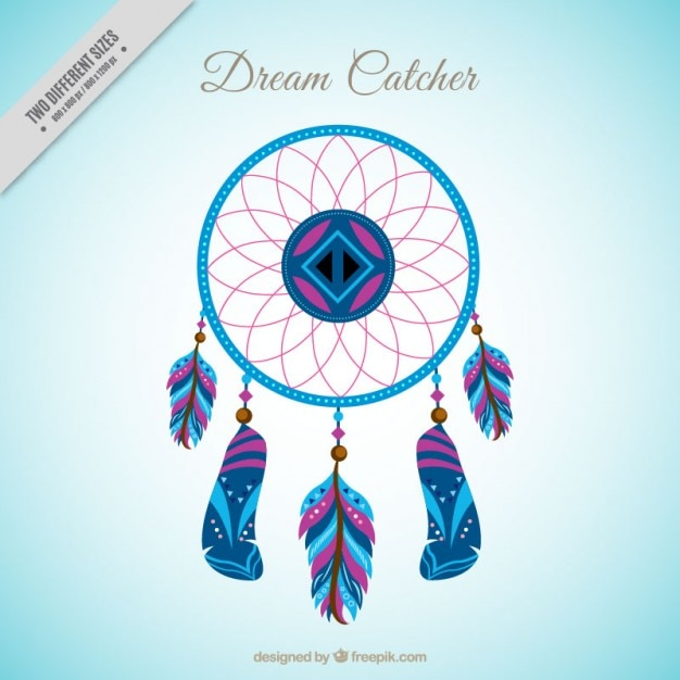 Hand drawn colored dream catcher background Free Vector
