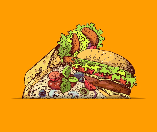 Hand drawn colored fast food burger, taco, pizza gathered together illustration Premium Vector