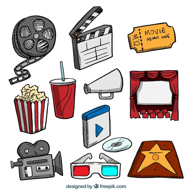 Hand drawn colored film objects pack