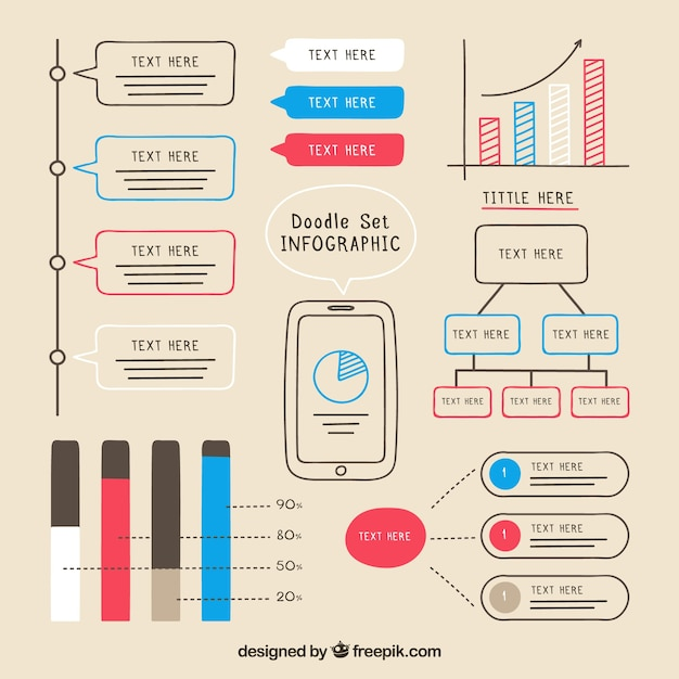 Hand drawn colored infographic elements pack
