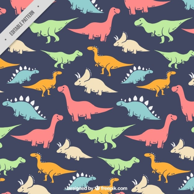 Hand Drawn Colored Kind Of Dinosaurs Pattern Vector Free