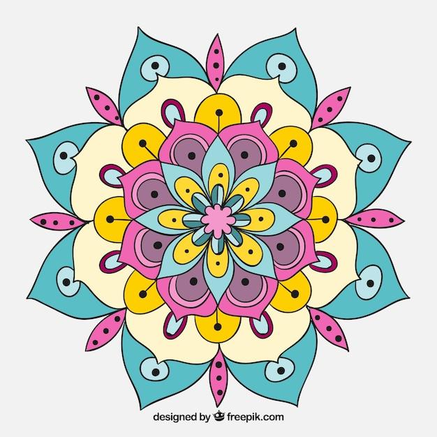 Hand drawn colored mandala | Free Vector