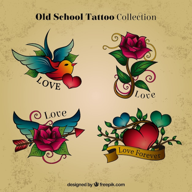 Hand Drawn Colored Tattoos Free Vector