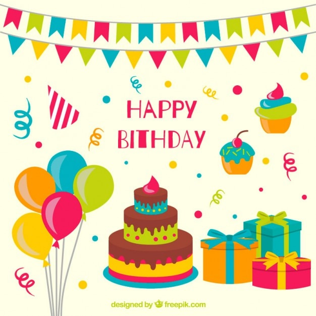 Hand drawn colorful birthday decoration Free Vector