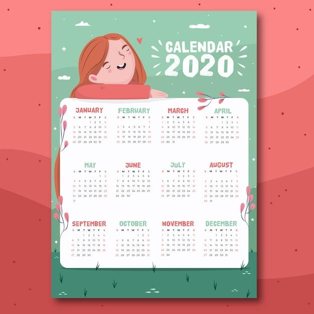 手描きのカラフルなカレンダー 無料ベクター