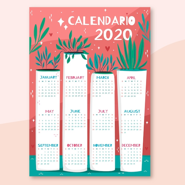 Hand drawn colorful calendar Free Vector