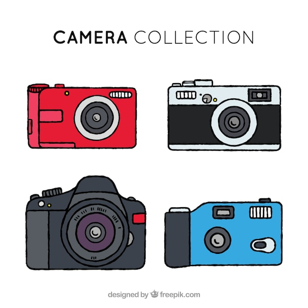 Hand drawn colorful camera collection