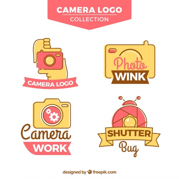Hand drawn colorful camera logo collection
