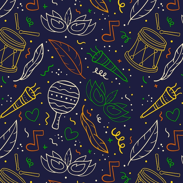 Hand drawn colorful carnival pattern Free Vector