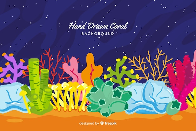 Hand drawn colorful coral background Free Vector