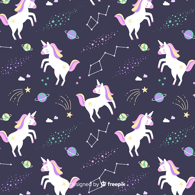 Hand drawn colorful cute unicorn pattern Free Vector