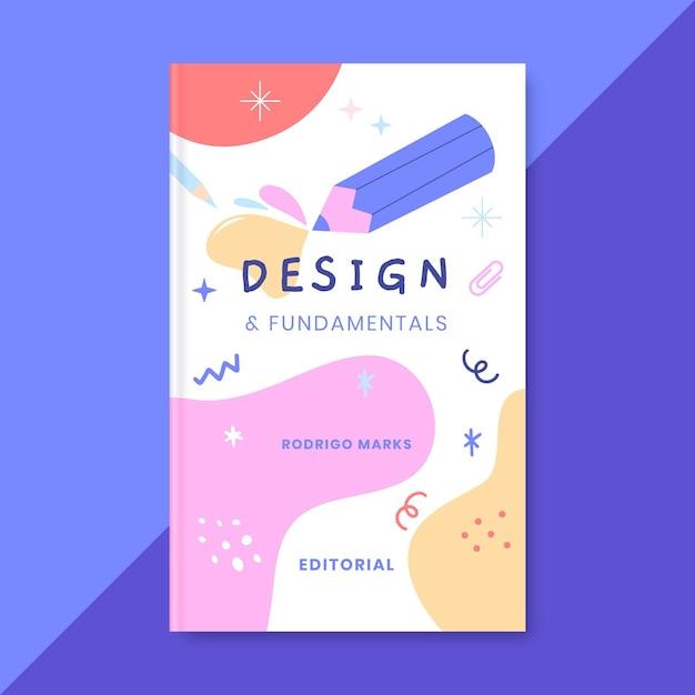 Ручной обращается красочный дизайн обложки книги Бесплатные векторы
