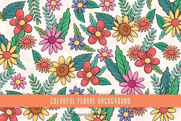 Hand drawn colorful floral background Free Vector
