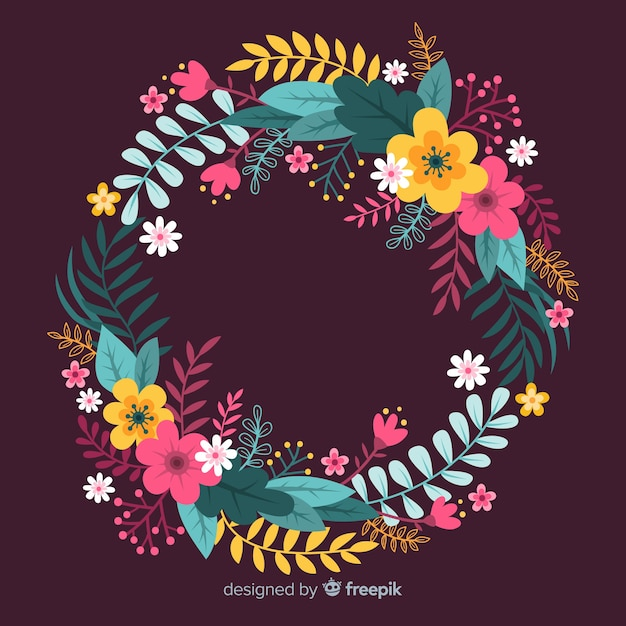 Hand drawn colorful floral wreath Free Vector
