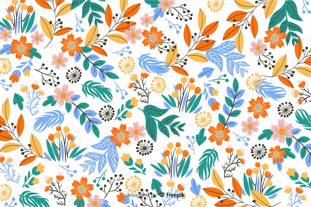 Hand drawn colorful flowers background Free Vector