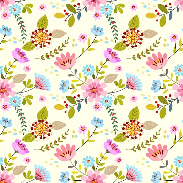 Hand drawn colorful flowers seamless pattern. Premium Vector