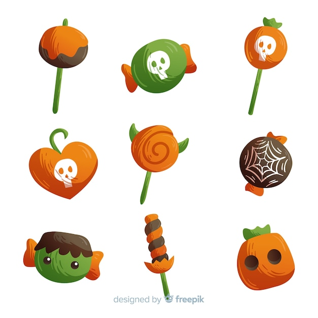 Hand drawn colorful halloween candy collection Free Vector