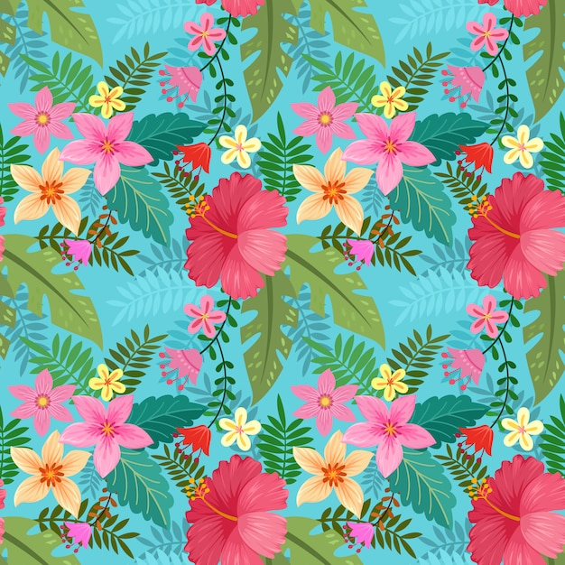 Hand drawn colorful hibiscus flowers seamless pattern. Premium Vector