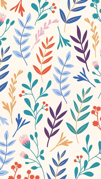 Hand drawn colorful leaves mobile wallpaper Free Vector