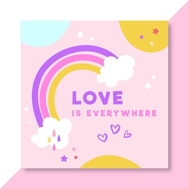 Post di facebook amore colorato disegnato a mano Vettore gratuito