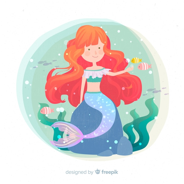 Hand drawn colorful mermaid background Free Vector